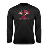 Performance Black Longsleeve Shirt-Lacrosse Sticks Design