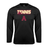 Performance Black Longsleeve Shirt-Tennis Design