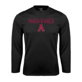 Performance Black Longsleeve Shirt-Track and Field Stacked Design