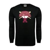 Black Long Sleeve TShirt-Softball Design