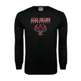 Black Long Sleeve TShirt-Stacked Basketball Design