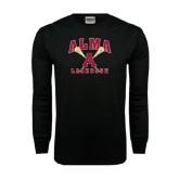 Black Long Sleeve TShirt-Lacrosse Sticks Design