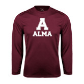 Performance Maroon Longsleeve Shirt-Stacked Alma