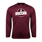 Performance Maroon Longsleeve Shirt-Soccer Design
