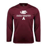Performance Maroon Longsleeve Shirt-Cross Country Design