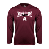 Performance Maroon Longsleeve Shirt-Baseball Bats Design