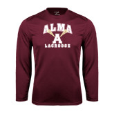 Performance Maroon Longsleeve Shirt-Lacrosse Sticks Design