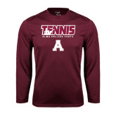 Performance Maroon Longsleeve Shirt-Tennis Design