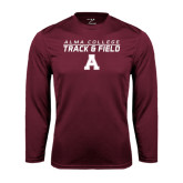 Performance Maroon Longsleeve Shirt-Track and Field Stacked Design