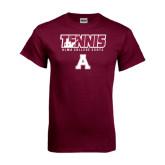 Maroon T Shirt-Tennis Design
