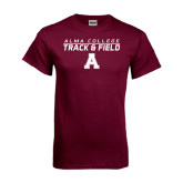 Maroon T Shirt-Track and Field Stacked Design