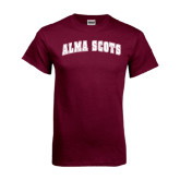 Maroon T Shirt-Alma Scots Arched