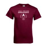 Maroon T Shirt-Stacked Basketball Design