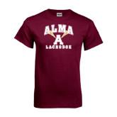 Maroon T Shirt-Lacrosse Sticks Design