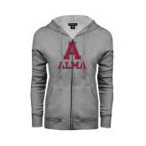 ENZA Ladies Grey Fleece Full Zip Hoodie-Stacked Alma