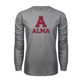 Grey Long Sleeve T Shirt-Stacked Alma