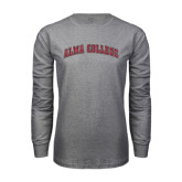 Grey Long Sleeve T Shirt-Alma College Arched