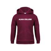 Youth Maroon Fleece Hoodie-Alma College