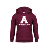Youth Maroon Fleece Hoodie-Wrestling