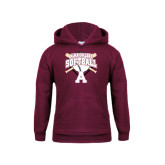 Youth Maroon Fleece Hoodie-Softball Design