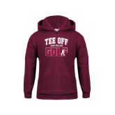 Youth Maroon Fleece Hoodie-Stacked Golf Design