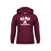 Youth Maroon Fleece Hoodie-Lacrosse Sticks Design