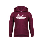 Youth Maroon Fleece Hoodie-Swim and Dive