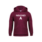 Youth Maroon Fleece Hoodie-Track and Field Stacked Design