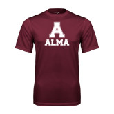 Performance Maroon Tee-Stacked Alma