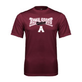 Performance Maroon Tee-Baseball Bats Design