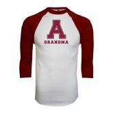 White/Maroon Raglan Baseball T Shirt-Grandma