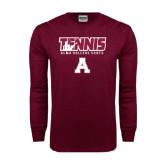 Maroon Long Sleeve T Shirt-Tennis Design