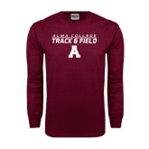 Maroon Long Sleeve T Shirt-Track and Field Stacked Design