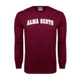 Maroon Long Sleeve T Shirt-Alma Scots Arched