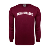 Maroon Long Sleeve T Shirt-Alma College Arched