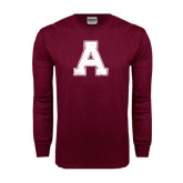 Maroon Long Sleeve T Shirt-Official Logo Distressed