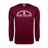 Maroon Long Sleeve T Shirt-Football Design