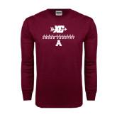 Maroon Long Sleeve T Shirt-Cross Country Design