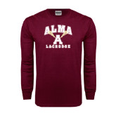 Maroon Long Sleeve T Shirt-Lacrosse Sticks Design
