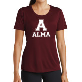 Ladies Performance Maroon Tee-Stacked Alma