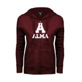 ENZA Ladies Maroon Fleece Full Zip Hoodie-Stacked Alma