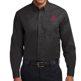 Black Twill Button Down Long Sleeve-Stacked Alma