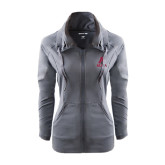 Ladies Sport Wick Stretch Full Zip Charcoal Jacket-Stacked Alma