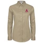Ladies Khaki Twill Button Down Long Sleeve-Stacked Alma