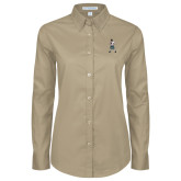 Ladies Khaki Twill Button Down Long Sleeve-Scotty