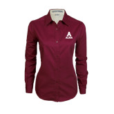 Ladies Maroon Twill Button Down Long Sleeve-Stacked Alma