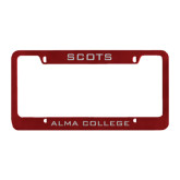 Metal Maroon License Plate Frame-Scots