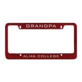 Metal Maroon License Plate Frame-Grandpa