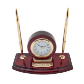 Executive Wood Clock and Pen Stand-Alma College Engraved