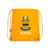 Gold Drawstring Backpack-ACACIA Crest
